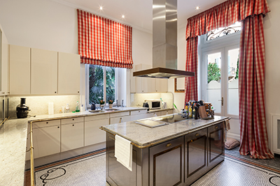 kitchen with plaid curtains