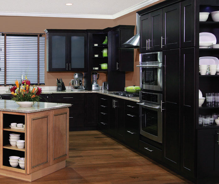 kitchen with dark-colored cabinets