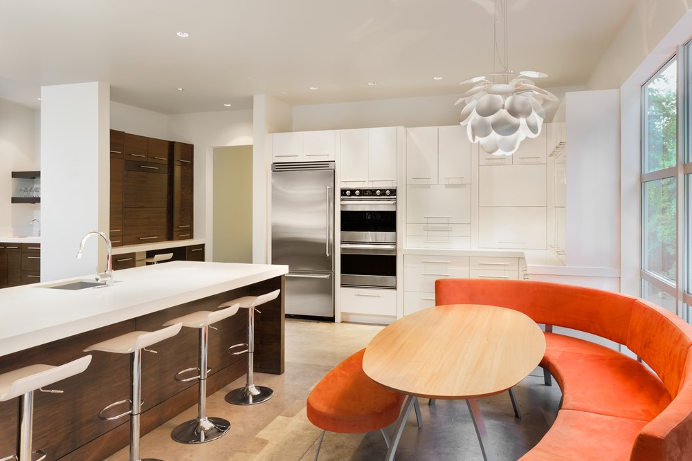 kitchen with orange benches