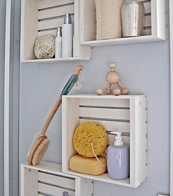 Crate Shelving on bathroom wall