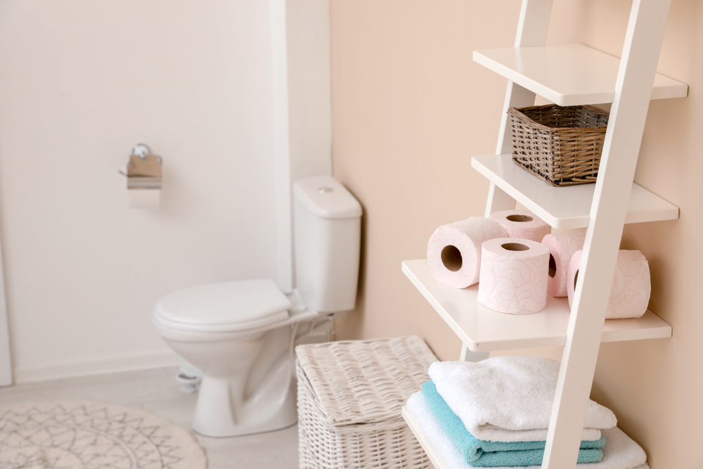 Free-Standing Storage Ladder in bathroom