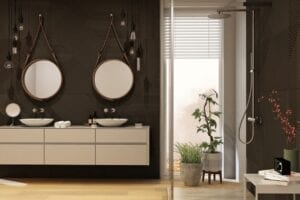 black-walled bathroom
