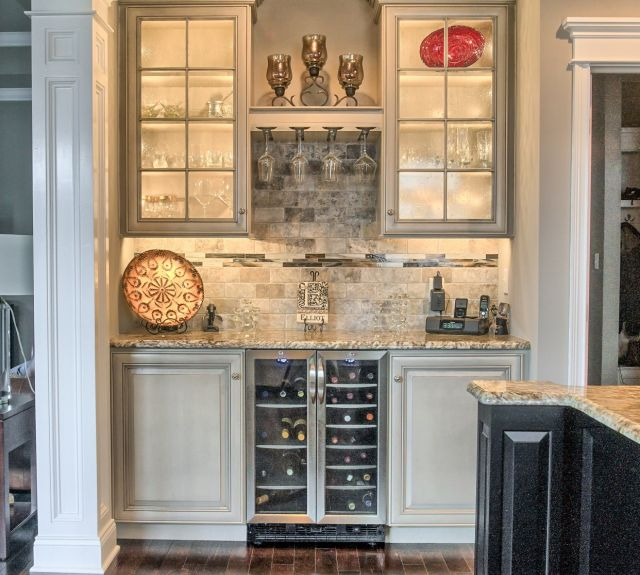 Kitchen with wine bottle cooler