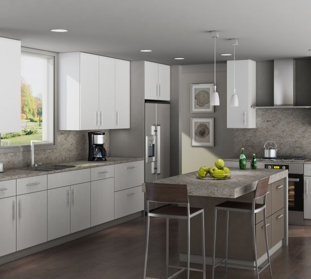 Contemporary kitchen with white cabinets